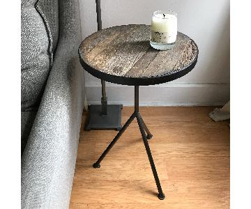 Restoration Hardware Elm & Iron Tripod Side Tables