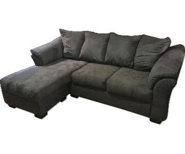 Grey Suede Sectional Sofa