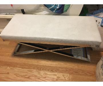 AllModern Entryway White Upholstered Bench