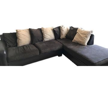 Brown Fabric Sectional Couch