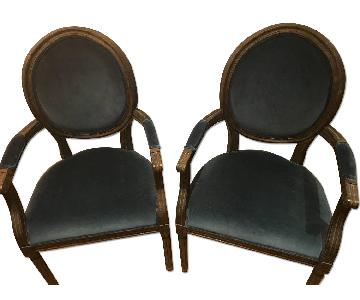 Restoration Hardware Vintage French Round Fabric Armchairs