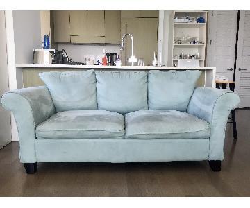 Light Aquamarine Suede Sofa