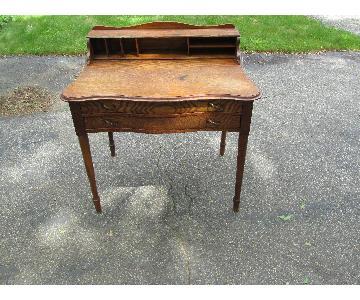 Antique Oak 2 Drawer Desk