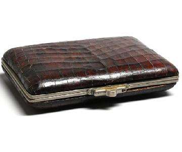Vintage Alligator Skin Accordion Document Holder.