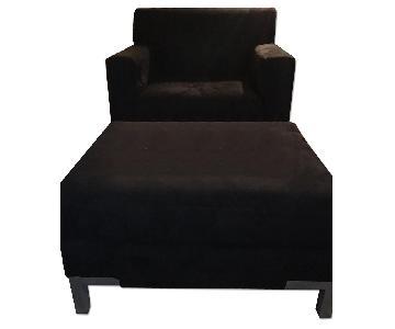 Black Microfiber Accent Chair & Ottoman