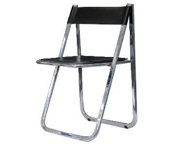 Arrben Italian Leather & Chrome Folding Chair
