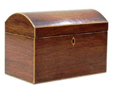 Antique Domed Wood Tea Caddy