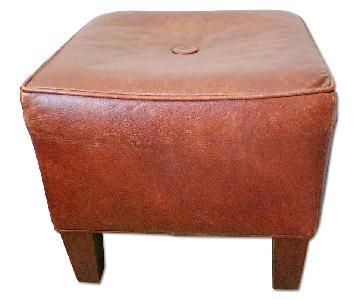 Ethan Allen Brown Leather Ottoman