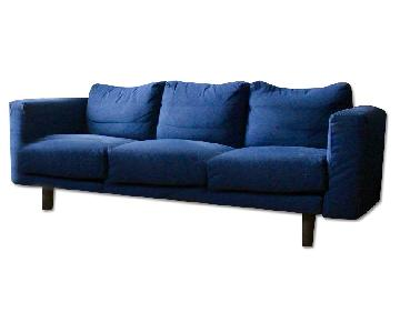 Ikea 3 Seater Blue Sofa