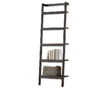 Crate & Barrel Sawyer Mocha Leaning Bookcase