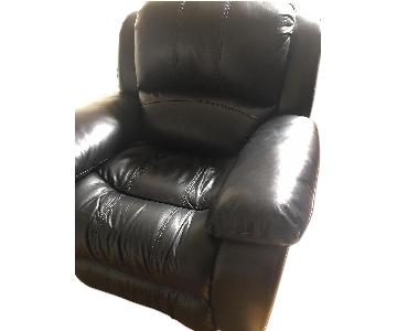 Raymour & Flanigan Black Leather Reclining Swivel Chair