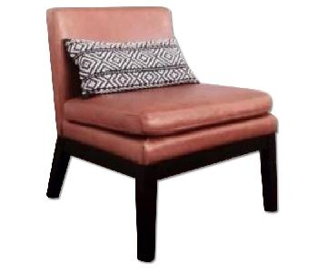 West Elm Leather Slipper Chair in Honey
