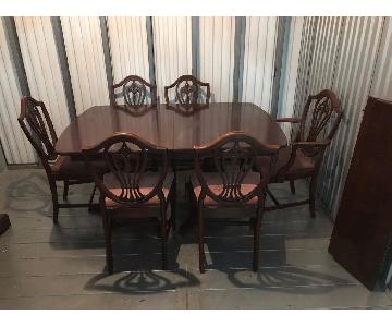 Drexel Furniture 1940s Antique Extendale Mahogany Dining Table w / 6 Chairs