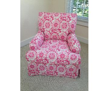 Lee Industries Pink & Cream Suzani Print Chair in Milly Pink