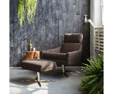 West Elm Austin Upholstered Swivel Chair & Ottoman in Tweed