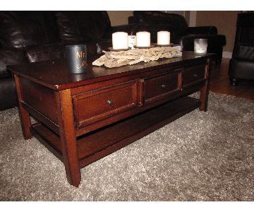 Espresso Coffee Table w/ 3 Storage Drawers