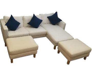 Ikea Karlstad Sectional Sofa w/ 2 Footstools