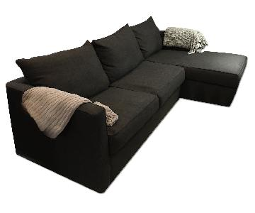 Klaussner Furniture Davis Sleeper Sectional Sofa in Dark Gray