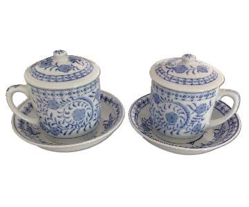 Williams Sonoma Blue & White Ming Era Porcelain Floral Tea Set