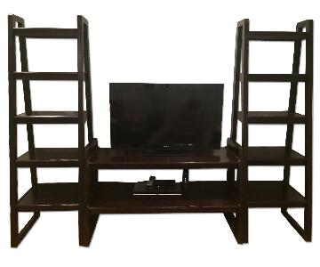 Macy's Media Console w/ Side Book Shelves