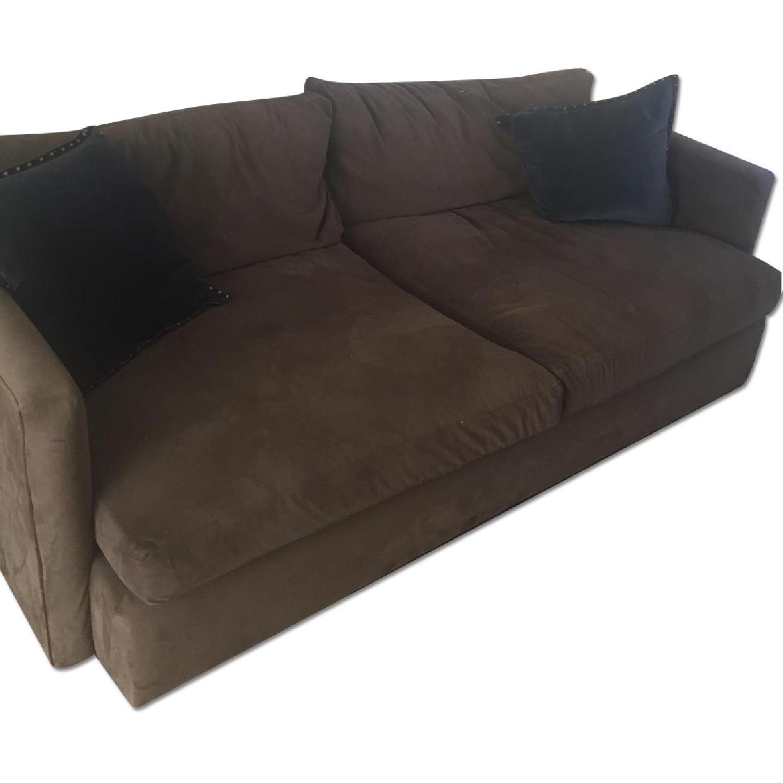 Crate U0026 Barrel Brown Microsuede Sofa ...