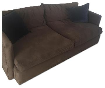 Crate & Barrel Brown Microsuede Sofa