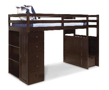 Canwood Mountaineer Espresso Twin Loft Bed w/ Storage Tower & Built in Stairs & Drawers