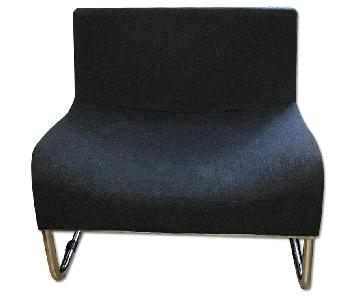 Lazzoni Mono Chair in Charcoal Organic Wool w/ Chrome Legs