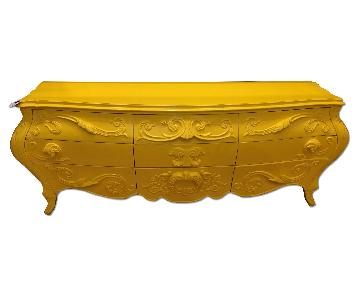 Antique Baked on Yellow 9 Drawer Dresser