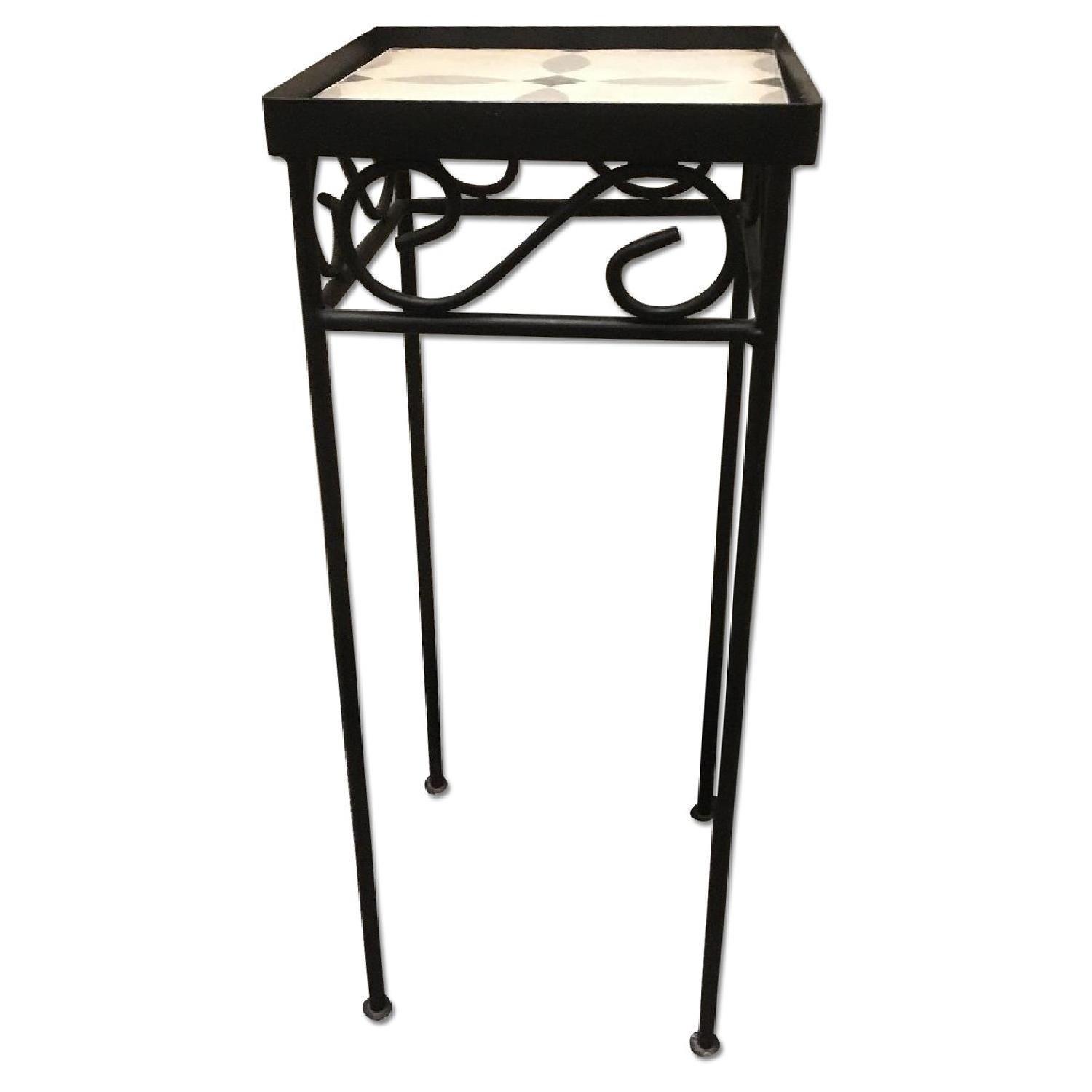 Iron Side Table ~ Small wrought iron side table w gray tile aptdeco