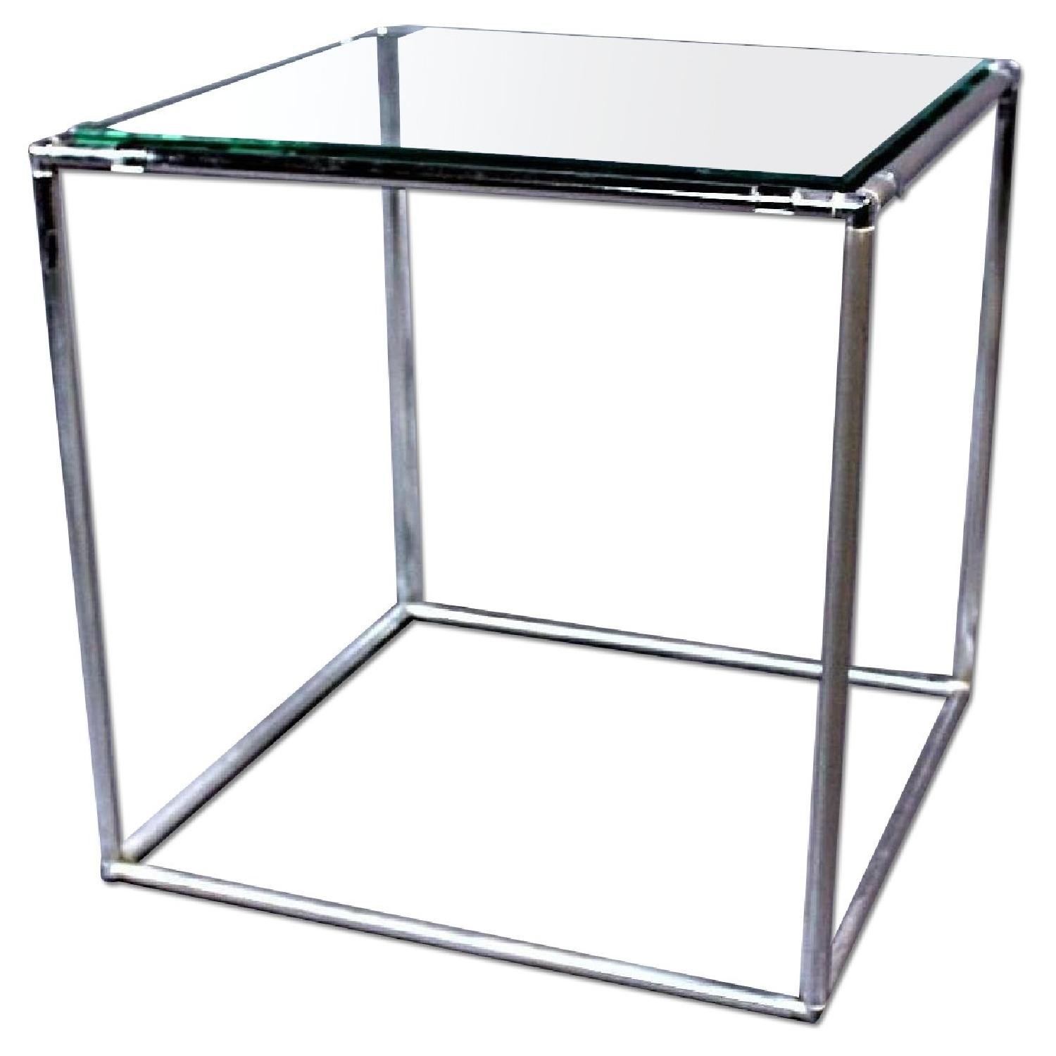 Glass Top Mid Century Modern Chrome End/Side Table