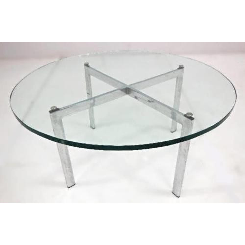 Barcelona Mid Century Modern Round Glass Top Coffee Table