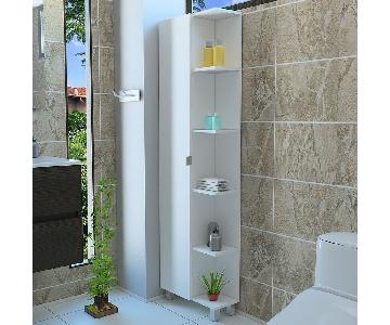 5 Shelf Tall Corner Bathroom Cabinet Storage