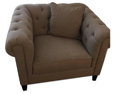 Macy's Grey Fabric Lounge Chair