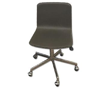 CB2 Form Leather Rolling Office Chairs