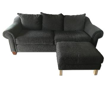Raymour & Flanigan Dark Brown Sofa & Ottoman