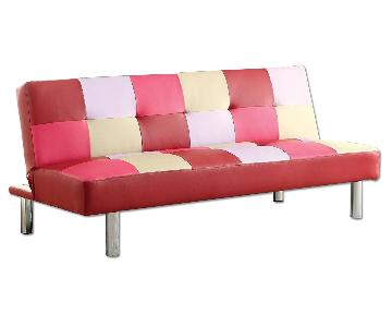 Furniture of America Pink Leatherette Futon