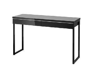 Ikea Besta Burs Table in Glossy Black