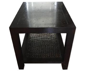 Wooden Side Table w/ Palm Weave Details