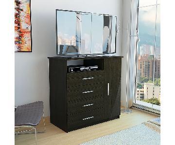 TV/Media Unit w/ 4 Drawers & 1 Door in Espresso-Wengue