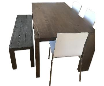 CB2 Blox Dining Table w/ 4 Chairs + 1 Bench