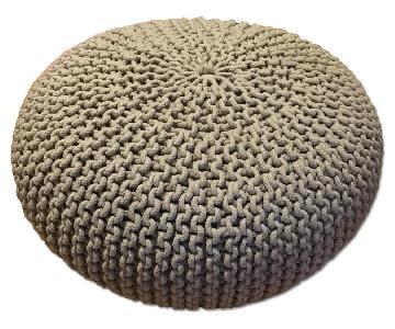 Restoration Hardware Knit Cotton Round Pouf
