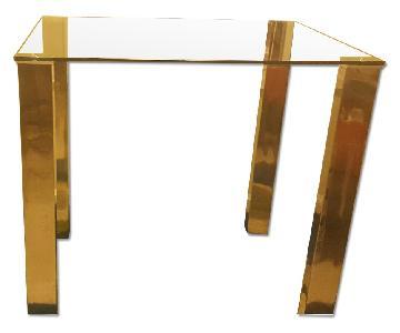 Glass Bar Height Table w/ Chrome Legs