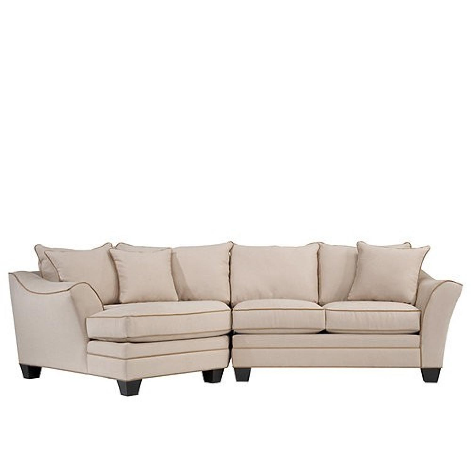 Raymour & Flanigan L Shaped Leather Sectional Couch AptDeco