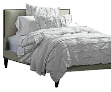 West Elm Chocolate Simple Full Bed Frame w/ Steel Gray Tall