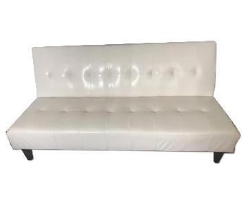 Faux Leather Futon w/ Dark Wooden Legs