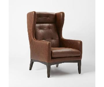 West Elm Leather Wing Chair