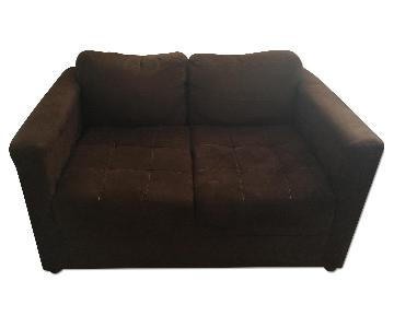 Gothic Cabinet Craft Brown Microsuede Loveseat