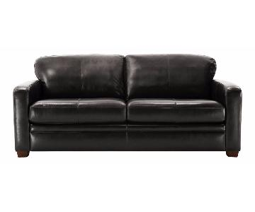 Raymour & Flanigan Trent Leather Sleeper Sofa