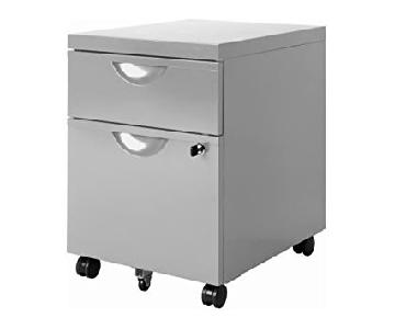 Ikea Erik 2 Drawer Unit w/ Optional Casters in Silver